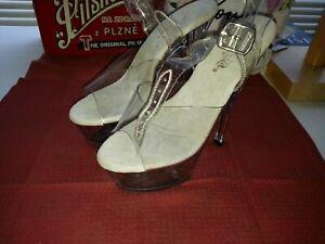 Pleaser Brand Clear 2 Strap Platform High Dancer Heels Shoes Used Well