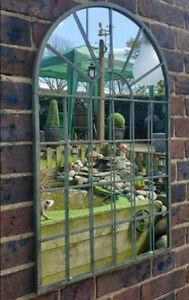 60cm Garden Mirror Window Arch Metal Grate Outdoor Hanging Frame Retro Decor New