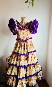 "Waist 31"" Floral Vintage Authentic Flamenco Gypsy Dress Frida Kahlo Feria Gitana"