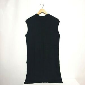 Jane Norman Top Sz 16 Black Knit Soft Sleeveless High Neck Long Side Splits Plus
