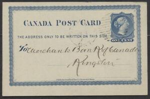 1876 #P1 1c Victoria PSC, Merchants Bank Notice, St Thomas Ont Duplex