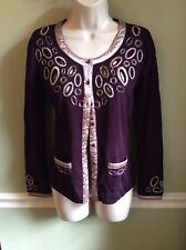 Courage b Women's Cardigan Sweater Plum Purple Small Medium Embellished Designer