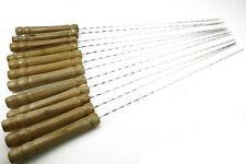 12Pcs BBQ Steel Metal Barbecue Skewer Grill Kebab Needles Stick Wooden Handle SZ