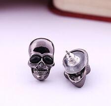Black Chrome Skull Earrings, Punk Earring, Gothic Earring, Skull Stud Earring