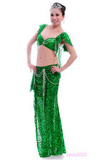 New Performance Belly Dance Costume 2 Pics Bra&Skirt 34B/C 36B/C 38B/C 10 Colors
