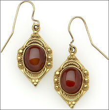Carnelian Drop Earrings Red Dangle Earrings 24k Gold-plate Egyptian Earrings