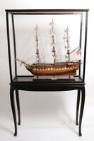 """Large Tall Ship Model Boat Wood Display Case 40"""" x 69"""" Cabinet Stand w/ Legs New"""