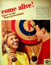 1965 Pepsi-Cola Soda-Pop Bottle Dart Board Art Promo AD