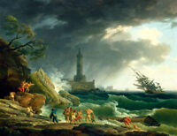 A Storm on a Mediterranean Coast Oil Painting Giclee Art Printed on canvas L1996
