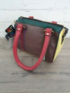 Gringo Fairtrade Multi Coloured Recycled Leather Bag - Faulty