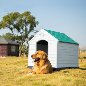 XXL Dog House Kennel Pet Animal Shelter Plastic Weatherproof Indoor Outdoor