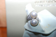 NEW Judith Ripka Sterling Diamonique & Mabe Pearl Bypass RING 5