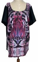 City Chic Womens Black Tiger Print Short Sleeve Dress Plus Size L