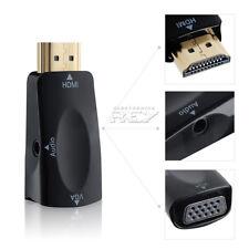 Adaptador Conversor HDMI a VGA / Jack Hembra Negro de 3.5 mm Conectores Oro v513