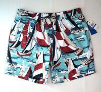 New Nautica size Extra Large Swim Trunks Bathing Suit Mesh Lined Sailboat Print