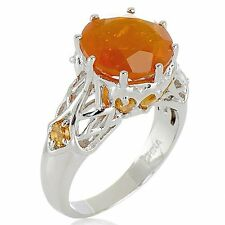 VICTORIA WIECK STERLING ROUND SUNRISE FIRE OPAL CITRINE RING SIZE 8 HSN SOLD OUT