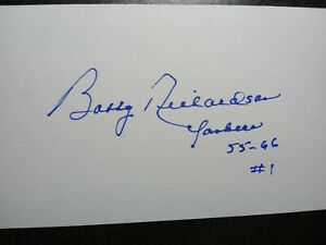BOBBY RICHARDSON Authentic Hand Signed Autograph 3X5 INDEX CARD NEW YORK YANKEES