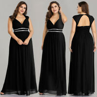 Ever Pretty Plus Size Women's Black Formal Evening Party Dresses Ball Gown 08697