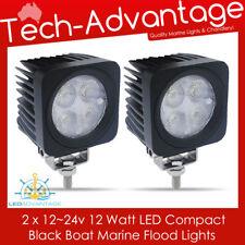 2 X 12V/24V BLACK 12W BOAT/FLYBRIDGE/DECK/TRUCK/MARINE FLOOD WORK LED LIGHT