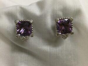 Judith Ripka Sterling Omega Back Cushion Cut Amethyst & Diamonique Earrings