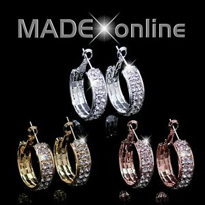 Small Chunky Bling Hoop Earrings, Silver, Gold or Rose Gold, Sparkle Bling Loops