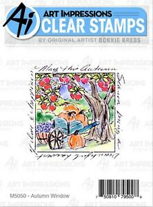 Fall Harvest Autumn Window To The World CLEAR Stamp ART IMPRESSIONS M5050 New