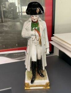 Antique German Scheibe alsbach porcelain statue of Napoleon early 20thC 9.5in