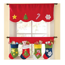 2PCS Fashion Santa Door Window Drape Panel Christmas Curtain Decorative Home