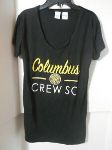 New Ladies Columbus Crew SC Women's Black V Neck Shirt Loose MLS Size Medium