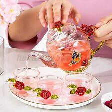 Enamel Teapot Rose Crystal Glasses Flower Tea Pot Cups High-Grade Heat-Resistant