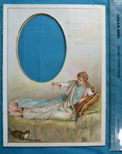 Antique Victorian Colour Printed Album Photo Mount Browning Poem Kitten & Beauty