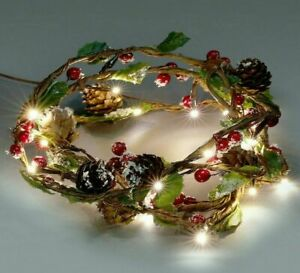 Christmas Garland with Warm White LEDs, Berries and Foliage - Battery Power, 6ft
