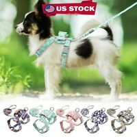 US Dog Cat Safe Floral Dog Strap Harness and Leash Set Vest Chihuahua Small Pet