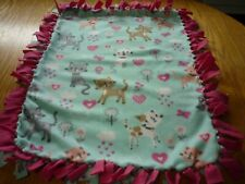 Handmade fleece tie blanket of cats and flowers for a small pet