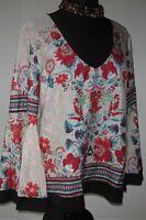 Bisou Bisou Women's V Neck Pullover Blouse Floral Bell Sleeve Size Large NEW