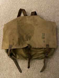 Vtg Monarch Brand No. 3-20 Portage Canvas/Leather Backpack Bag Canoe Duluth, MN
