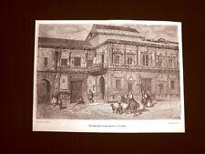 Incisione di Gustave Dorè del 1874 Palazzo dell'Ayuntamiento Siviglia Spagna