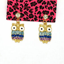 Animal Owl Bird Women Stand Earring Hot Betsey Johnson Color Enamel Crystal Cute