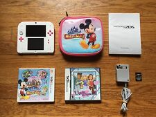 Nintendo 2DS Peach Pink & White Handheld System Disney Magical World Bundle Lot