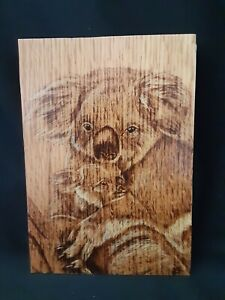 Koala and Baby - hand made, wood burnt picture on oak