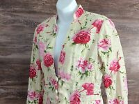 Womens Banana Republic Lightweight Blazer Sz 4 Linen Cotton Roses Romantic Retro