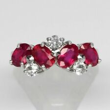 6x4mm Natural 4pcs Rich Red Ruby Ring With White Topaz in 925 Sterling Silver