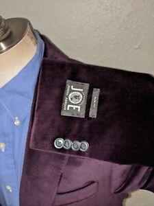 42L Joseph Abboud SLIM Purple Velvet Velour Blazer Smoking Dinner Jacket Coat
