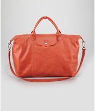 Longchamp Le Pliage LARGE Authentic Leather Weekender Tote New Paprika Orange