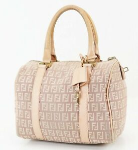 Authentic FENDI Pink Zucca Canvas Boston Hand Bag Purse #38250
