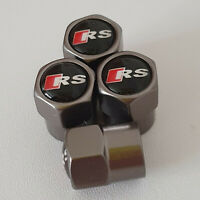 AUDI RS Gun Metal Grey Wheel Valve Dust caps all models S LINE S-line RS TT Q3 Q