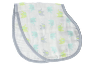 Ideal baby Boys burpy bib - muslin/cotton blend Elephants White/Greens/Gray New