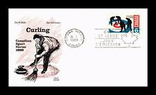 New listing DR JIM STAMPS CURLING SPORTS SERIES FIRST DAY ISSUE CANADA COLE COVER