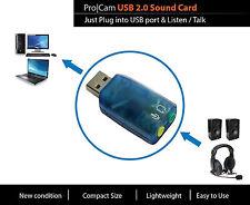Pro|Cam USB Sound Card Mic Microphone Phone Headphone Speaker Skype External