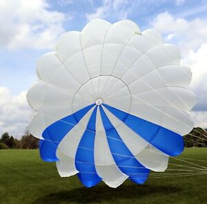 Phantom 22 round reserve skydiving parachute canopy - white and blue, 22ft
